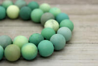 Matte Green Opal Agate Round Sphere Ball Natural Gemstone Loose Beads