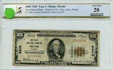 """FR1804-1 CH #6370 $100 1929 FRBN """"MIAMI, FL"""" PCGS 20 VF (#39a DFP 7/17/20)"""