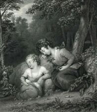 Children in the Wood sleeping by Henwell & Westall 19th century engraved print