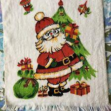 Vintage Santa Claus Hand Towel by Franco Cute Christmas Decor Xmas Tree Wreath