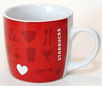 Starbucks 7.8 Oz. Cup Mug Demitasse Espresso Ceramic Red with Heart Logo EUC