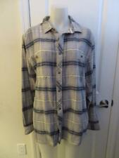 NWT MENS QUICKSILVER GRAY,BLUE,WHITE PLAID LONG SLEEVE BUTTON DOWN SHIRT SIZE L