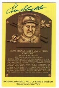 Enos Slaughter - MLB Hall of Fame - Autographed Hall of Fame Plaque Postcard