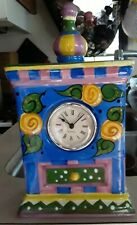 Seymour Mann Carnaby Colorful Handpainted Porcelain Tower Table Clock