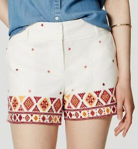 NWT Ann Taylor LOFT Printed Linen Cotton Riviera Shorts Size 14