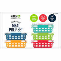 Ello 10 Pc Glass Meal Prep Food Storage Container Set Non-Slip Dishwasher Safe