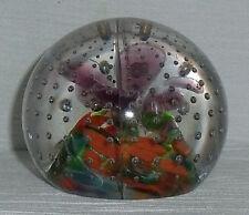 """Art Glass Paperweight Bullicante Purple Flower Vtg 2.5"""" Hand Blown"""