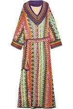 New NWT Missoni Metallic Rainbow Crochet Zigzag Long Maxi Gown Dress US 4 IT 40