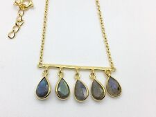 18K Gold on 925 Sterling Silver Bar Necklace Labradorite Teardrop Tear Gemstones