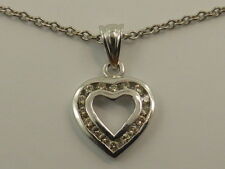 9ct Solid White Gold & 0.16ct of Diamonds Heart Pendant & 40cm Chain Necklace