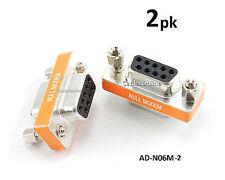 2-PACK DB9 Mini NULL MODEM Female/Female Data Transfer Adapter/Gender Changer
