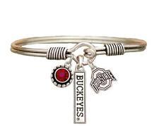 Ohio State Buckeyes 3 Charm Red Crystal Silver Wire Bracelet Jewelry NCAA OSU