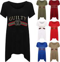New Style Women/'s Ladies Velvet Liberty Slogan Stripes Print T-Shirt Top *