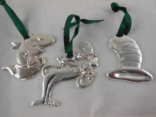 Dr. Seuss The Cat in a Hat & Fish in a Dish Silver Metal Christmas Ornaments 3