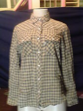 Women 'Vintage Levis Sierra Humps Size S Multi color Plaid LS Pearl Snap Shirt