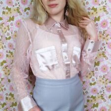 Sheer Lace and Satin Pale Dusky Pink Long Sleeve Blouse UK14