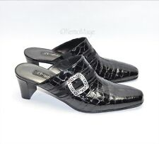 Brighton TUDOR Mules Black Leather Shoes Patent Crocodile Emboss Sz 6-6.5 Italy