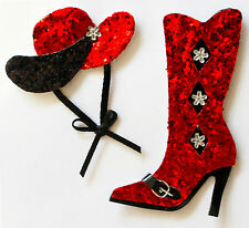 Red Black Glitter Cowgirl Self Adhesive Stick On Topper Embellishments For Card