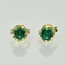 Ladies Childs14k Yellow Gold Imitation EMERALD Buttercup Set Stud Stick Earrings