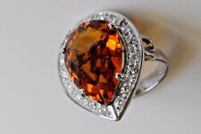 Teardrop  Citrine Madera  with diamond Halo ring in 14k White gold