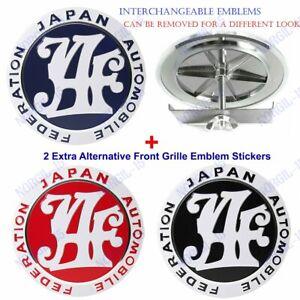 Japan Automobile Federation JAF Grill Emblem Badge +2 Extra Alternative Stickers