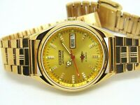 CITIZEN AUTOMATIC MEN GOLD PLATED VINTAGE GOLDEN DIAL MADE JAPAN WATCH RUN ORDER