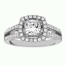 Cut White Cz Wedding Ring Engagement Ring .925 Sterling Silver Cushion