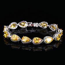 New Charm Women Jewelry Gifts Yellow Citrine Gemstone Silver Chain Bracelets