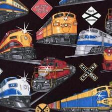 TRAINS Fabric Fat Quarter Cotton Quilting Craft Railway Locos - Boys