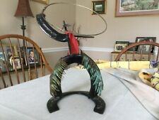 "12"" Cowboy Western Metal Rope Lasso Sculpture Artisan Horseshoe Rodeo Man Figure"
