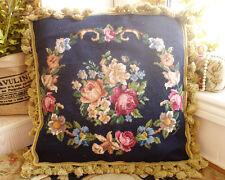 "18"" Beautiful Needlepoint Pillow Cushion Rose & Floral Garland"