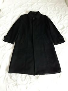 Mens Wool & Cashmere Black Overcoat Size XXL