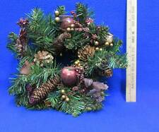 Christmas Pillar Candle Wreath Pine Cones Faux Apples Berries Gold Tone Accents