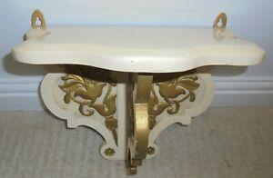 Large vintage carved wooden wall bracket, candle sconce, shelf, cream gold