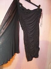 JANE NORMAN ONE SHOULDER BLACK DRESS RUFFLE PROM PARTY BEADED FLORAL LACE UK 12
