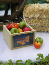 Miniature Dollhouse FAIRY GARDEN Accessories ~ Apples with Wood Wooden Crate