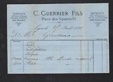 """AUX RIVIERES prés LYON (69) BRIQUETTERIE , BRIQUES & TUILES """"C. GUERRIER"""" 1881"""