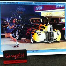 1940 Ford at Car Hop Scene Illustration 8x10 Reprint Garage Decor