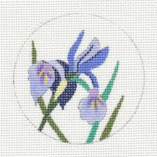 "Juliemar Violet Dwarf Iris 3""Rd. handpainted Needlepoint Canvas Ornament *New*"