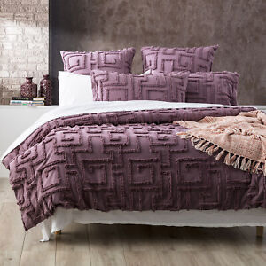 Renee Taylor Riley Vintage Washed Cotton Chenille Tufted Quilt Cover Set Grape