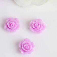 10PCS Vintage Flatbacks Cabochon Rose Flower Resin Lucite Cameo 10MM EV