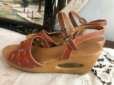 Vintage Wedge Leather Sandals Yo-Yo's 70s Shoes Heels Cut-out Platform 7 1/2