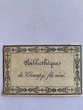 Ex-libris Alsace CHAMPY fils ainé, Moeder 57a, 58 x 93 mm