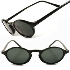 Classic Vintage Retro 80s Hipster Black Mens Womens Small Oval Round Sunglasses