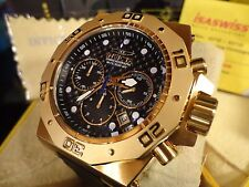 Invicta 23103 58mm Akula Gold Tone Chrono Black Dial and Leather Strap Watch NEW