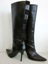 Valentino Stiletto Garavani Black Leather Suede Bow Embellished Knee High Boots