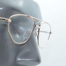 Angled Aviator Wire Reading Glasses Spring Hinge Gold Metal Frame +2.50 Lens
