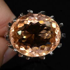 PEACH MORGANITE OVAL RING UNHEATED SILVER 925 19.10 CT 20.5X17.3 MM SIZE 6.75