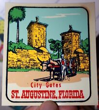 Vintage Florida City Gates St. Augustine Auto transfer suitcase decal 1970's