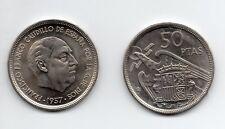 Francisco Franco : 50 Pesetas 1957 (58) Sin Circular ( procedente de cartucho )